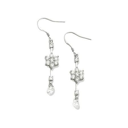 Sterling Silver Cz Flower Dangle Earrings