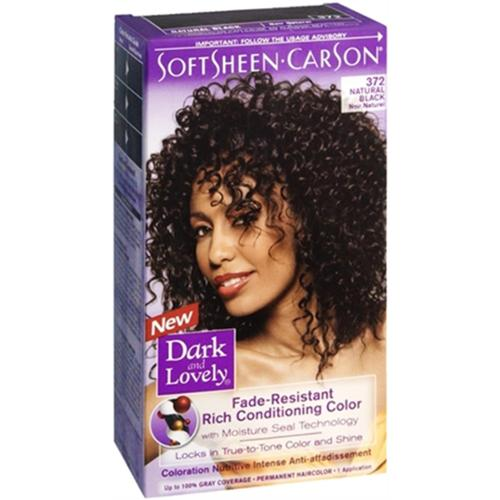 Dark and Lovely Permanent Hair Color 372 Natural Black 1 Each (Pack of 2)