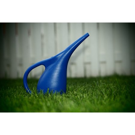 Framed Art for Your Wall Lawn Beautiful Watering Can Yard Blue Summer 10x13 Frame