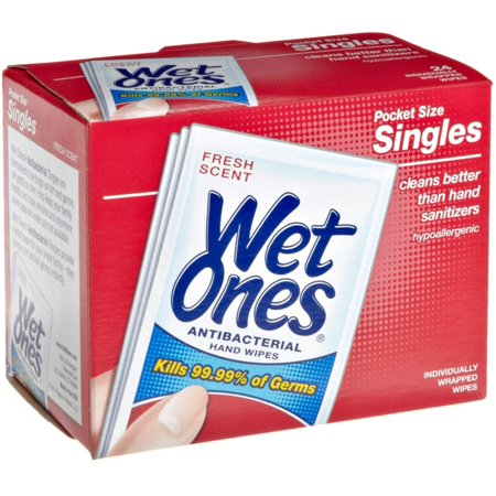 WET ONES Towelettes Antibacterial 24 Each (Pack of 2)