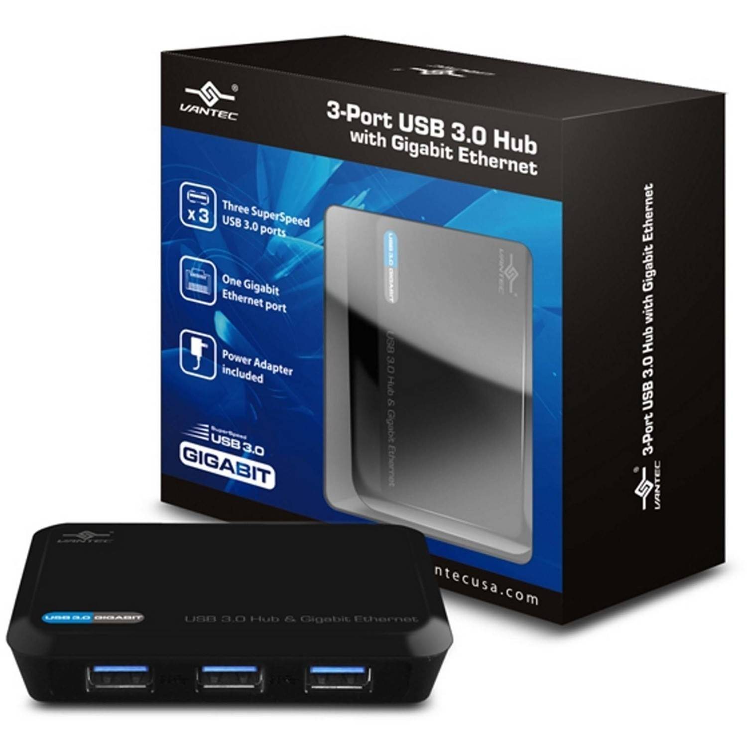 Vantec UGT-MH330GNA 3-Port USB 3.0 Hub with Gigabit Ethernet Port, Black