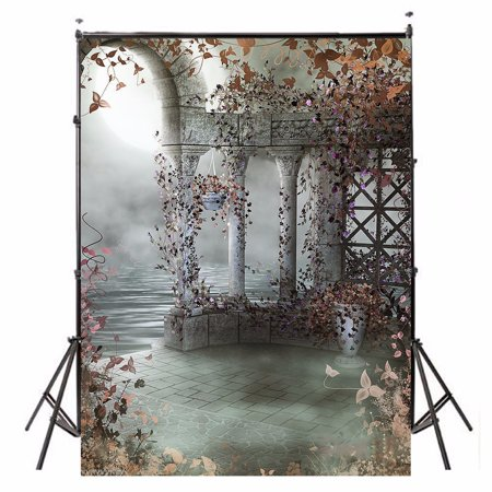 5x7FT Fairy Garden Castle Backdrop Vinyl Photography Photo Studio Props Background 60'' x  84'' for $<!---->
