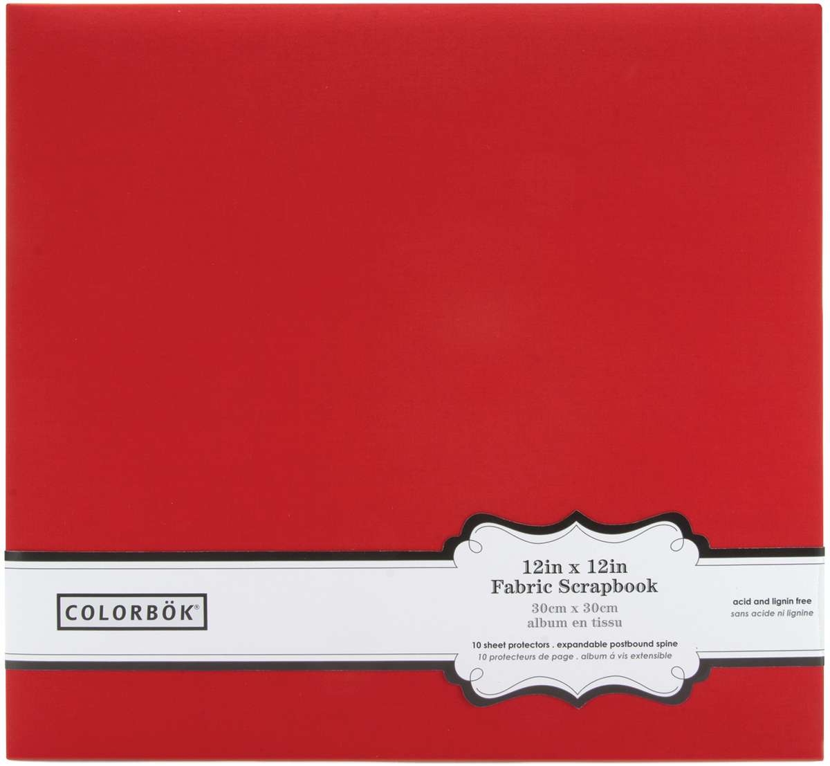 "Colorbok Fabric Post Bound Album 12""X12""-Red"