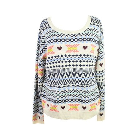 Maison Jules White Multi Long-Sleeve Fair Isle Sweater XL (Isle Sweater)