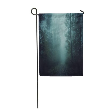 LADDKE Blue Horror Dark Scary Forest Path at Night Surreal Halloween Creative Garden Flag Decorative Flag House Banner 28x40 inch for $<!---->