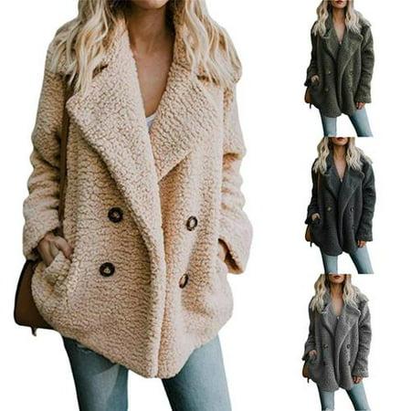 Womens Oversized Button Fluffy Cardigans Jacket Warm Jumper Fleece Faux Fur Coat Outwear