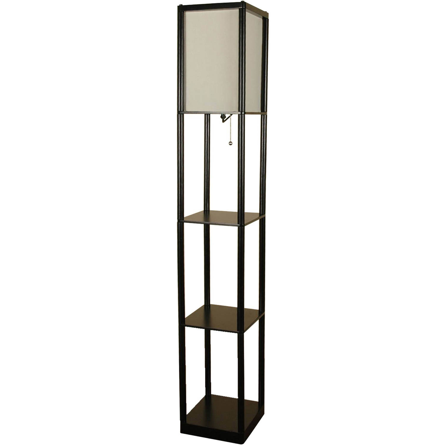 Great Mainstays Black Shelf Floor Lamp With White Shade On/Off CFL Bulb Included    Walmart.com