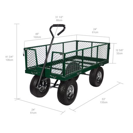 Heavy Duty Garden Dump Cart Dumper Wagon Carrier with Removable Sides and 13 inch Tires and 440-Pound Capacity - image 3 of 6