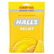 HALLS Relief Honey Lemon Sugar Free Cough Drops, Economy Pack - 70 Drops