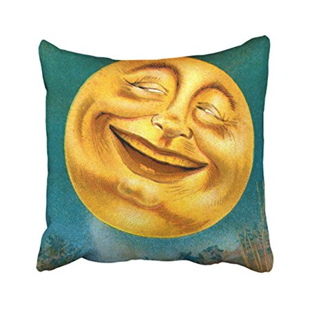 WinHome Funny Vintage Halloween Moon Laughing Out Loud Silhouette Personalized Polyester 18 x 18 Inch Square Throw Pillow Covers With Hidden Zipper Home Sofa Cushion Decorative Pillowcases