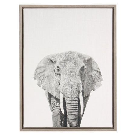Kate and Laurel Sylvie Elephant Framed Canvas Wall Art
