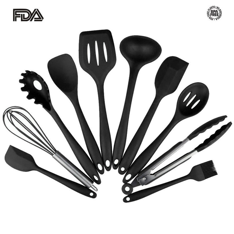 Silicone Heat Resistant Kitchen Cooking Utensil 10 Piece Cooking Set Non-Stick Kitchen Tools (Black)