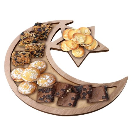 Outtop Wooden Artistic Eid Mubarak Party Serving Tableware Tray Display Wood Decoration - Serving Trays For Parties