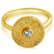 Belcho Cubic Zirconia Textured Round Plate Fashion Ring 6