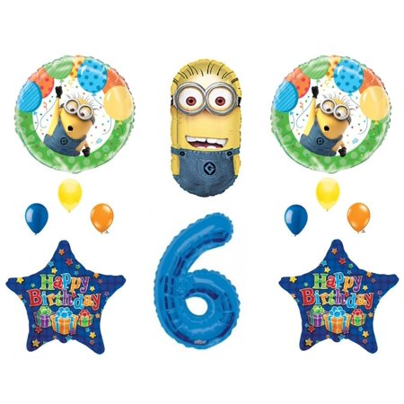 6th DESPICABLE ME MINIONS Happy Birthday PARTY Balloons Decorations Supplies