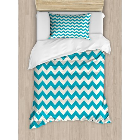 Seafoam Twin Size Duvet Cover Set, Abstract Geometric Stripes with Chevron Zigzag Arrangement Vintage Inspirations, Decorative 2 Piece Bedding Set with 1 Pillow Sham, Beige Seafoam, by Ambesonne ()