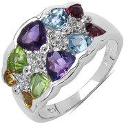 Malaika Sterling Silver 3 3/4ct TGW Multi-gemstone Ring Size 6
