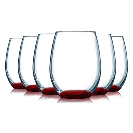 Red Stemless Wine Glasses Bottom Colored- 15 oz. Set of 6- Additional Vibrant Colors Available by TableTop King - Black Stem Wine Glass