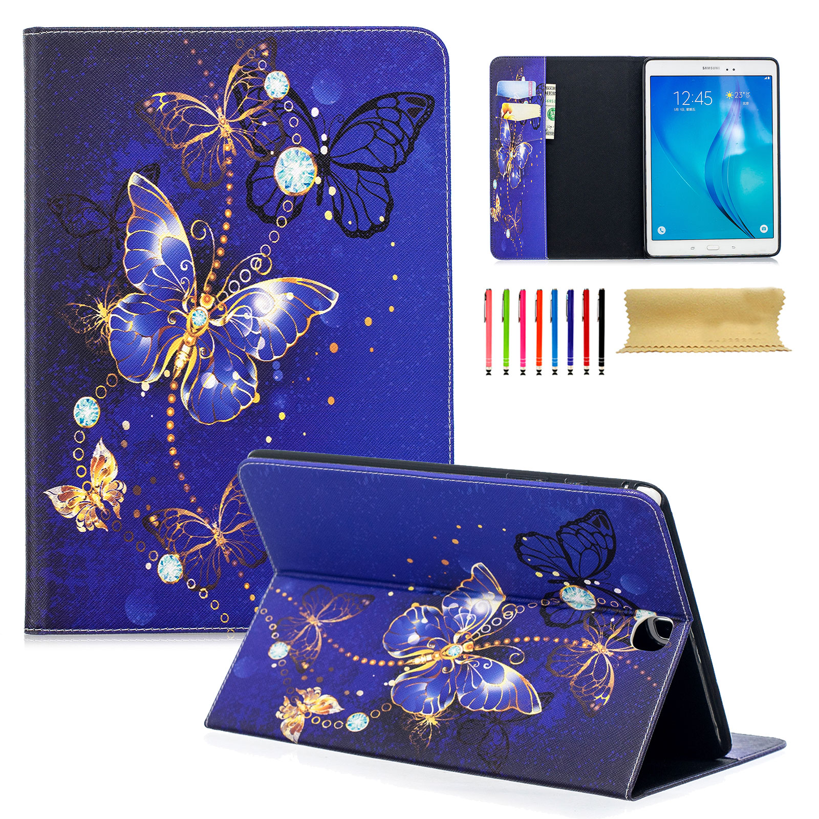 Galaxy Tab A 9.7 Case, Galaxy Tab A 9.7 with S Pen Case, Goodest Slim-Fit Smart Folio Stand Case Cover with Card Cash Slots for Samsung Galaxy Tab A 9.7 Inch SM-P550 SM-T550 Tablet, Blue Butterfly