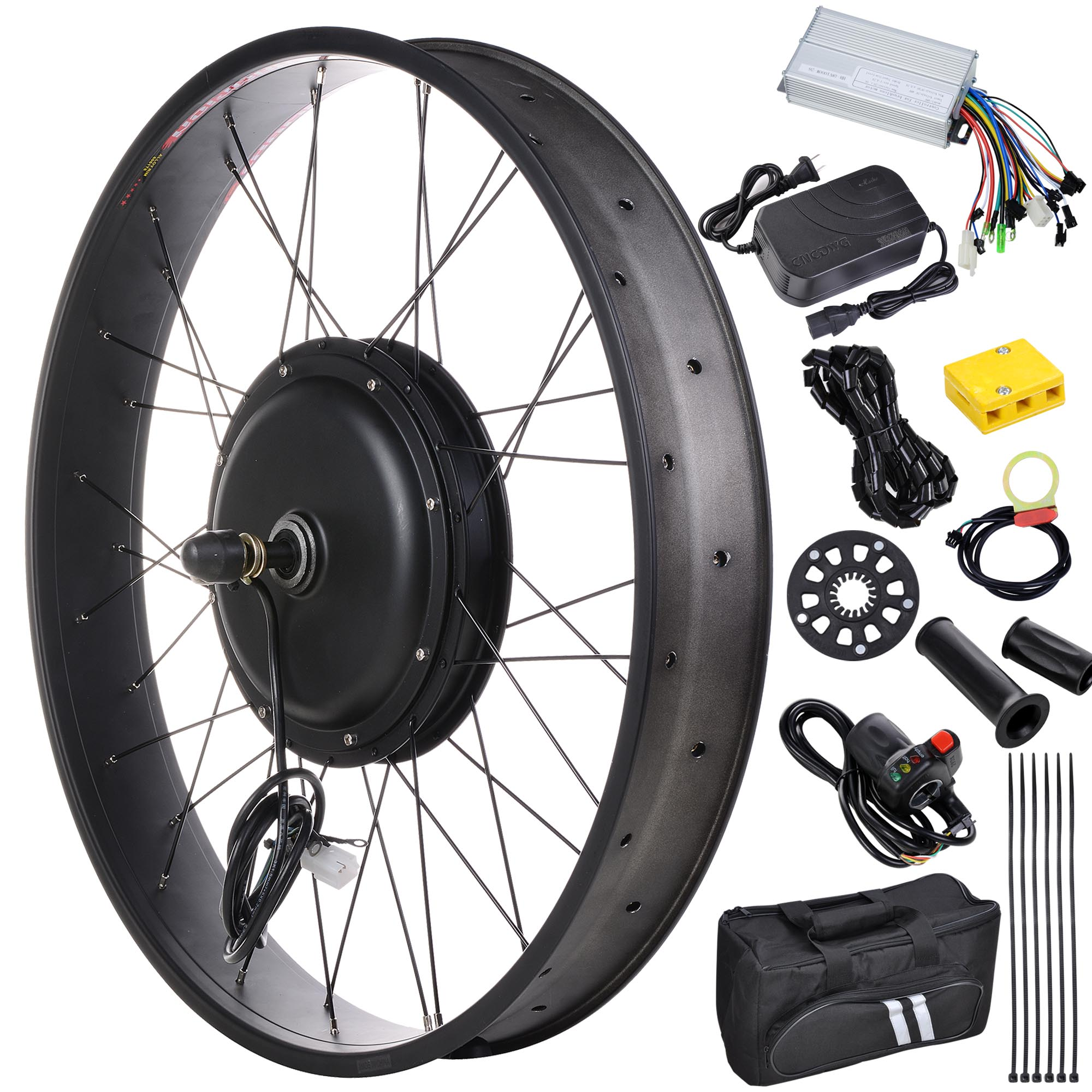 "26"" 48V 1000W Electric Bicycle Motor Conversion Kit Front Wheel E-Bike 470RPM"