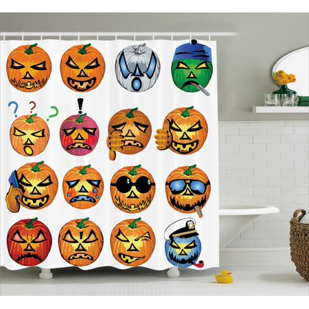 Halloween Decorations Shower Curtain, Carved Pumpkin with Emoji Faces Halloween Humor Hipster Monsters Art, Fabric Bathroom Set with Hooks, 69W X 84L Inches Extra Long, Orange, by Ambesonne