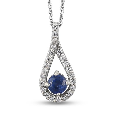 """Shop LC 925 Sterling Silver Round Blue Fissure Filled Sapphire Zircon Necklace Platinum Plated Pendant Bridal Anniversary Engagement Wedding Size 20"""" Ct 0.9 For Women Jewelry"""