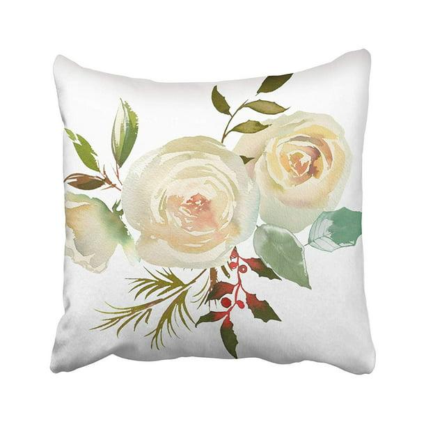 Arhome Arrangement Watercolor Floral Bouquet Bordo White Navy Blue Roses Peonies Leaves Pillow Case Pillow Cover 16x16 Inch Throw Pillow Covers Walmart Com Walmart Com