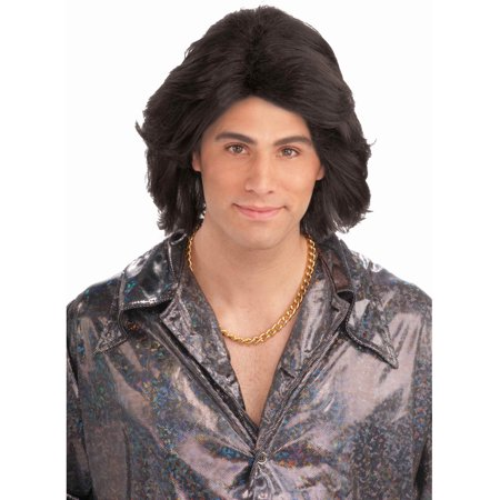 Adult Mens Black 70s Cool Guy Costume Heart Throb Wig - 70s Mens Wig