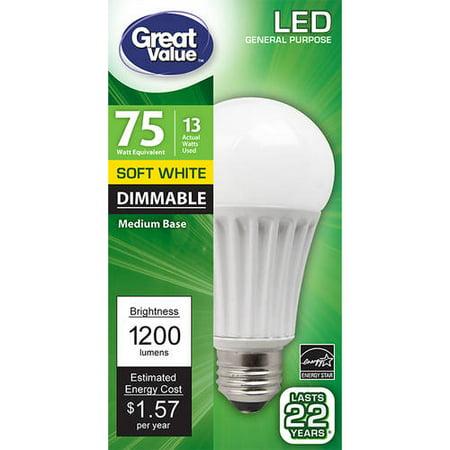 Great Value LED Light Bulb 13W (75W Equivalent) A19 Lamp E26 Medium Base, Dimmable, Soft - 75w Equivalent Medium Base