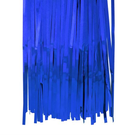 Aspire Long Foil Fringe Photo Backdrops Doorway Window Tinsel Party Curtain 3 ft x 8 ft-Blue-Pack of 6