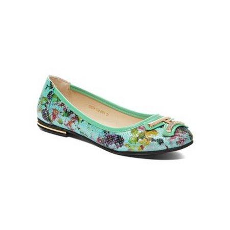 Liyu Adult Green Floral Printed Metal Adorned Slip-On (Green Sideline Flat)