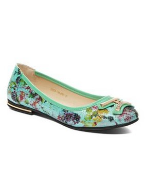 626df86e2e37 Product Image Liyu Adult Green Floral Printed Metal Adorned Slip-On Flats