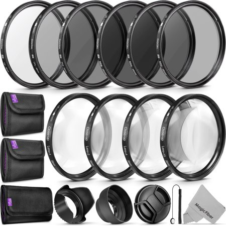58MM Complete Lens Filter Accessory Kit (UV, CPL, ND4, ND2, ND4, ND8 and Macro Lens Set) for Canon EOS 70D 77D 80D Rebel T7 T7i T6i T6s T6 SL2 SL3 DSLR (Best Gopro Lens Filter)