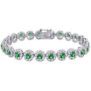 Miabella Green Cubic Zirconia and Created White Sapphire Sterling Silver Halo Bracelet