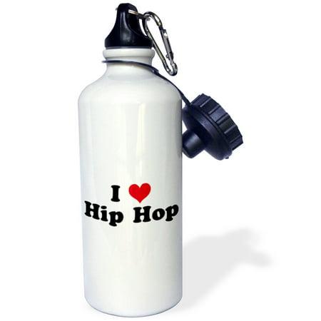 3dRose I Love Hip Hop, Sports Water Bottle, 21oz (Best Hip Hop Battles)