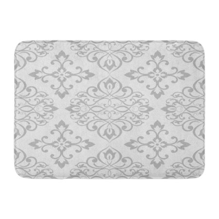 SIDONKU Gray Antique Damask Pattern in Grey Silver Baroque Carpet Classic Doormat Floor Rug Bath Mat 23.6x15.7 inch - Joy Carpets Silver Screen