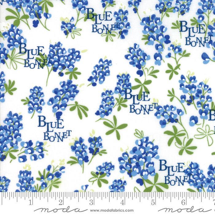 Floral Bluebonnet Natural, Wildflowers - Moda Cotton Fabric