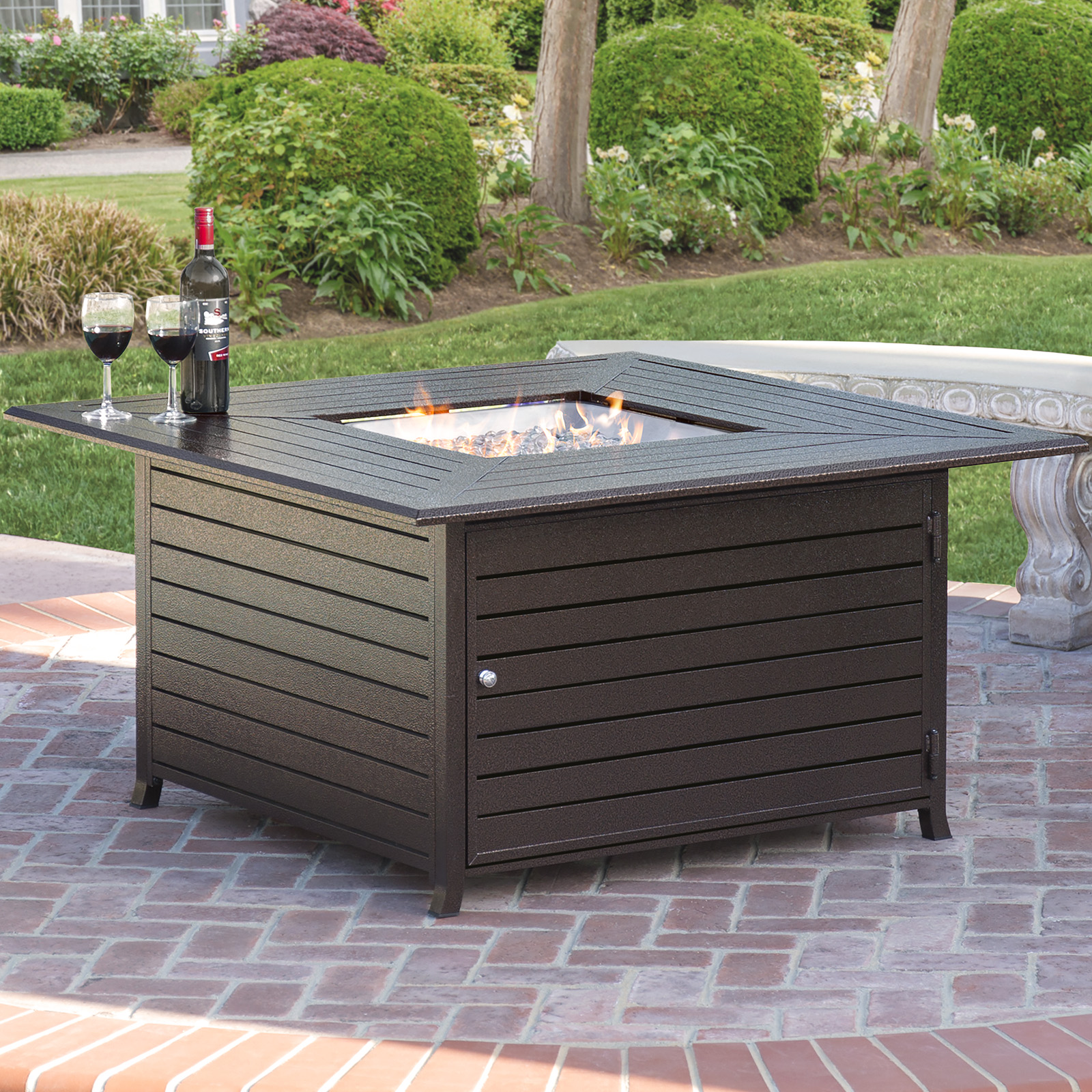 Best Choice Products 45x45in Extruded Aluminum Square Gas Fire Pit Table for Outdoor Patio w/ Weather Cover Lid Propane Tank Storage ... & Best Choice Products 45x45in Extruded Aluminum Square Gas Fire Pit ...
