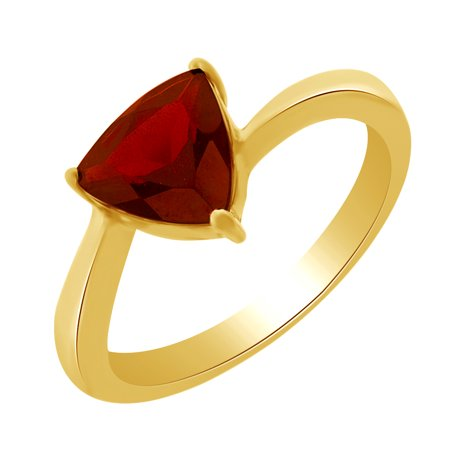1.99 Ct Trillion Cut Simulated Garnet Solitaire Ring in 14k Yellow Gold Over Sterling Silver Ring Size - 4