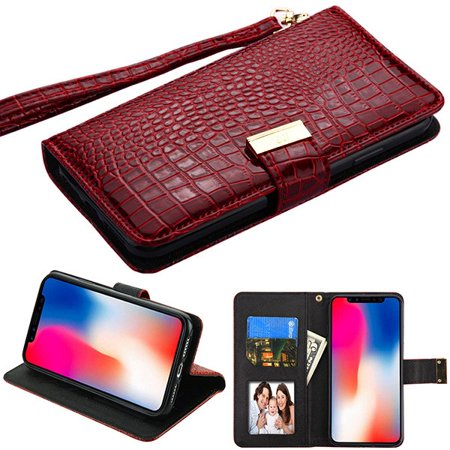 "Apple iPhone XR (6.1 Inch) - Phone Case Leather Flip Wallet Case Cover Stand Pouch Book Magnetic Buckle Burgundy Crocodile Embossed Phone Case for Apple iPhone Xr (6.1"")"