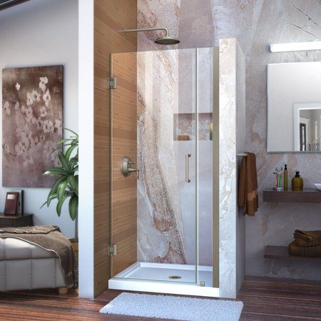 DreamLine Unidoor 35-36 in. W x 72 in. H Frameless Hinged Shower Door in Brushed Nickel ()