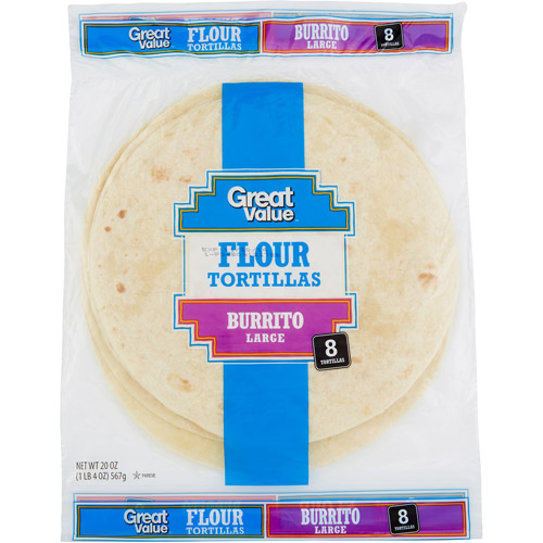 "Great Value Flour 10"" Burrito Size Tortillas, 8 ct"