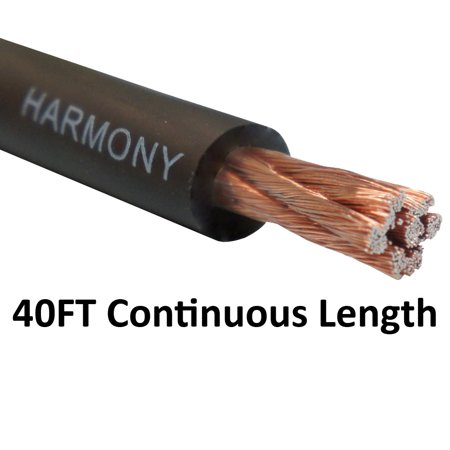 Harmony Audio 4 Gauge 4GA Car Stereo Matte Black Power Cable Amp Wire - 40