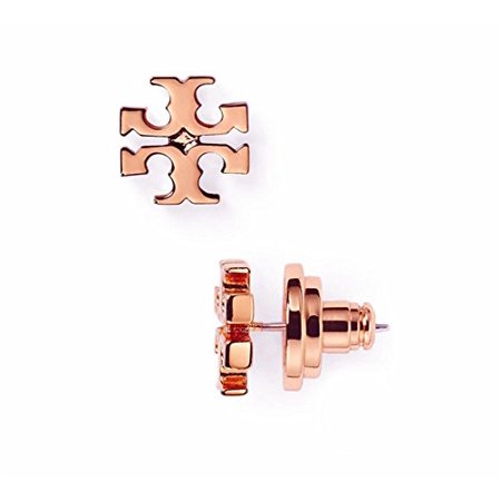 Tory Burch Small T Logo Stud Earrings In Rose Gold With Dust Cover