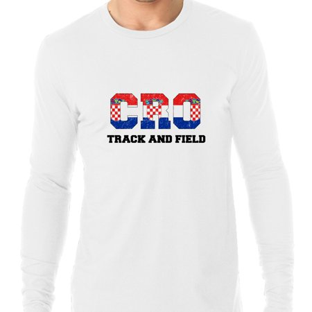 Croatia Track and Field - Olympic Games - Rio - Flag Men's Long Sleeve - Track And Field T-shirt Designs