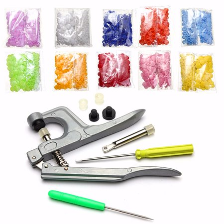 500-Pack Snap 10-Color Starter Pack Snap Press Pliers Plastic Snap-On Buttons Fasteners Installation Punch Poppers Attachment Setting Tool for Bibs Diapers](Button Art)