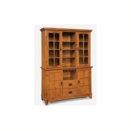 Bowery Hill Wine Rack Buffet with Hutch in Cottage Oak Cabinet Oak Veneer Buffet China