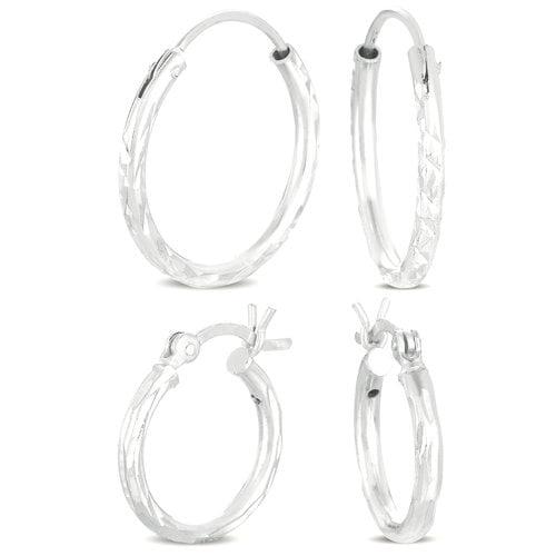 Diamond-Cut Sterling Silver Hoop Earrings Set