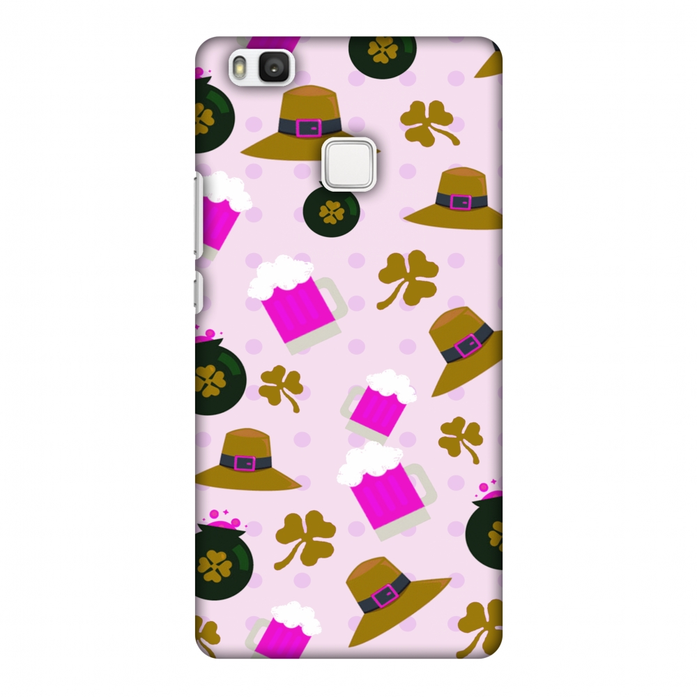 Huawei P9 Lite Case, Premium Handcrafted Printed Designer Hard Snap on Shell Case Back Cover for Huawei P9 Lite - Shamrock, Hats, Beer And Potluck - Olive