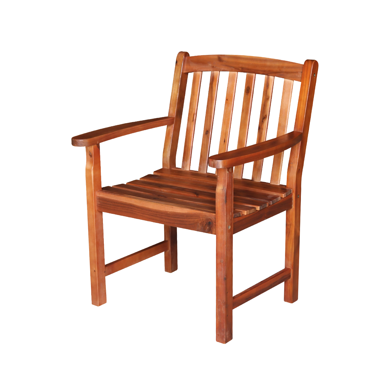Outdoor Slatback Chair with Arms - Oiled Finish